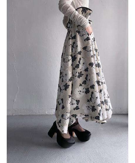 circular floral skirt - flower white