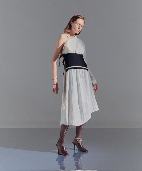 One shoulder shirt dress (white)