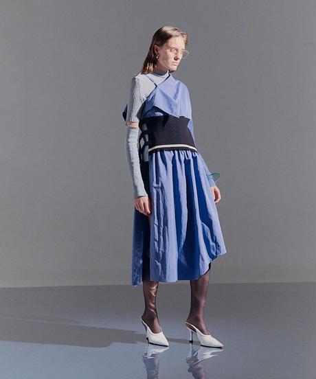One shoulder shirt dress (blue)