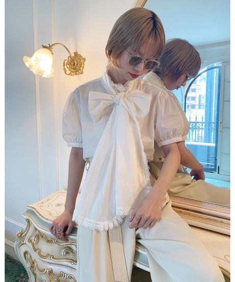 Acka original 2way Ribbon tie blouse -FA407-