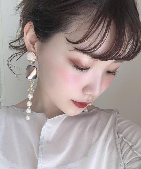 handmade  gold parl earring  -607-