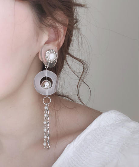 handmade  silver chain_earring  -602-