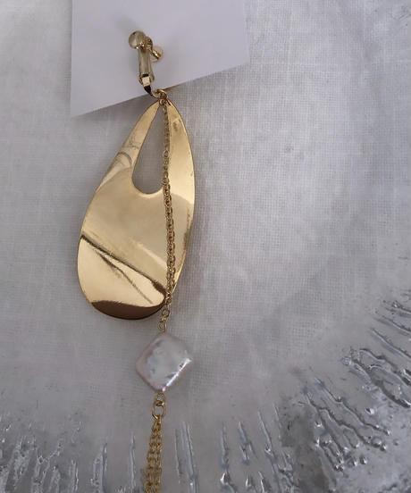 handmade  gold parl earring  -617-