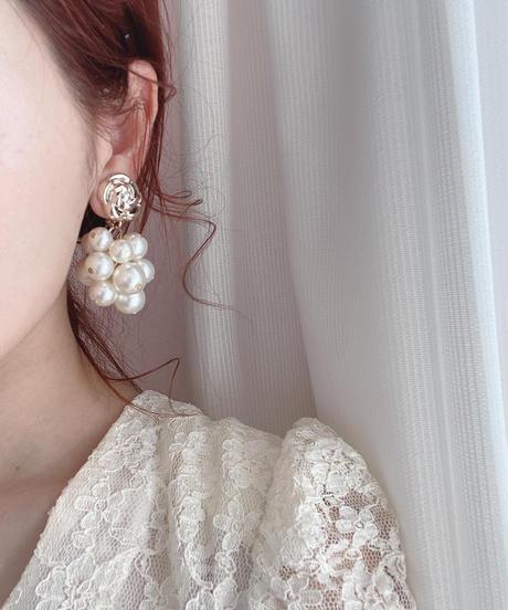 handmade  flower perl earring -639-