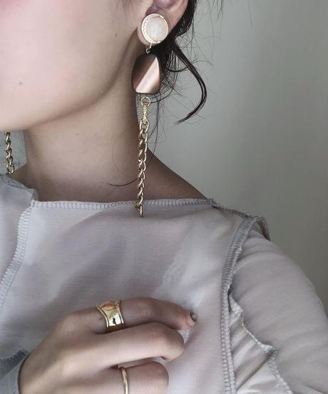 handmade  gold chain earring -600-