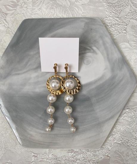 handmade perl earring -642-