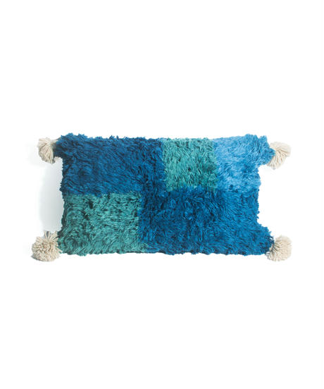 8.Cushion Cover Rectangle/ Blue×Green (30×50)
