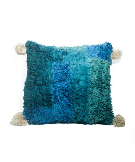 6.Cushion Cover M/ Patch work・Blue×Green (45×45)
