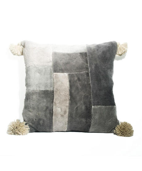 13.Cushion Cover M/ Patch work・Gray  (45×45)