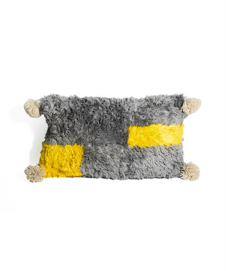 10.Cushion Cover Rectangle/ Gray×Yellow (30×50)