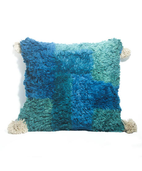8.Cushion Cover M/ Patch work・Blue×Green (45×45)