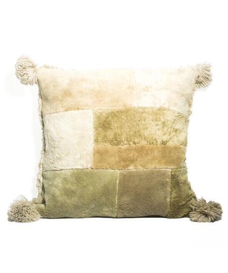 14.Cushion Cover M/ Patch work・Beige(45×45)