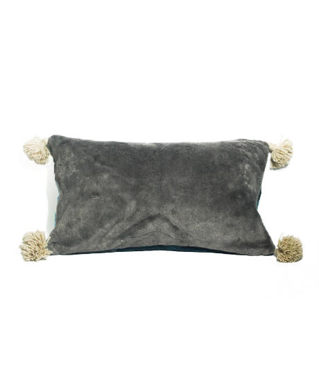 20.Cushion Cover Rectangle・Patch work/ Blue×Gray(30×50)