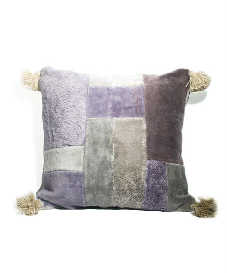 4.Cushion Cover M/ Patch work・Purple gray×Gray  (45×45)