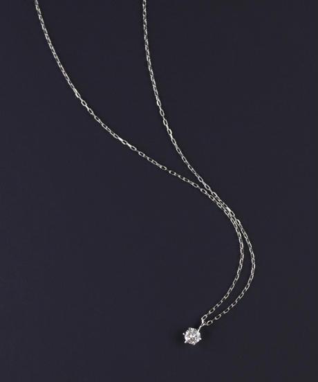 【anq.】K18ホワイトゴールド 0.1ctダイヤモンド ネックレス