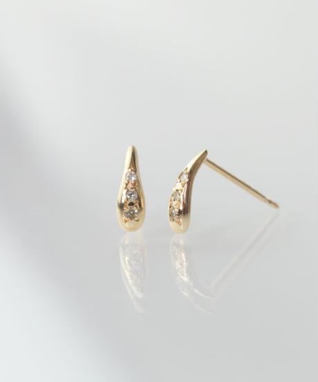 【anq.】K10・0.02ctダイヤモンド dewスタッドピアス