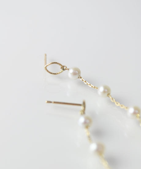 【anq.】K10・Pearl dropピアス 淡水パール