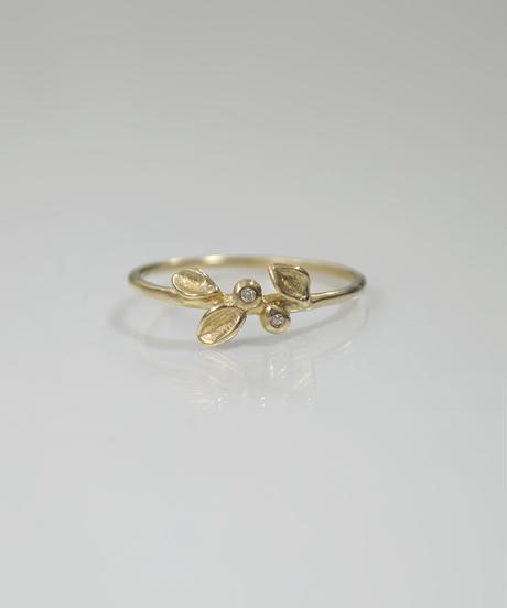 【LIO and LINN】K14 2diamond leaf RING