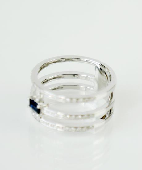 【ANDY】K9WG サファイア・ダイヤモンド ボリュームデザインリング
