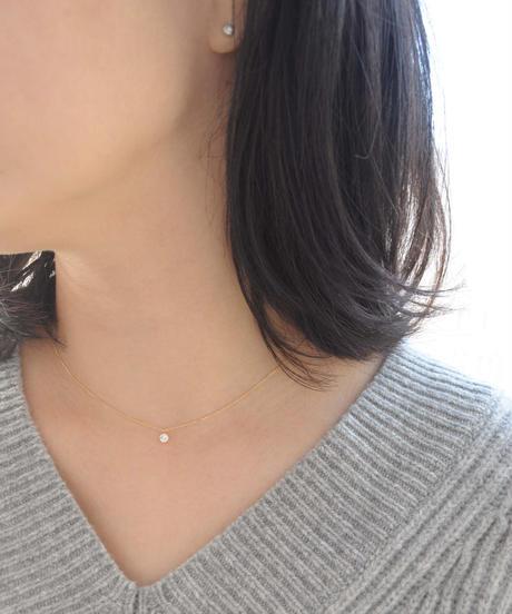 【anq.】 K18イエローゴールド 0.2ctダイヤモンド ネックレス
