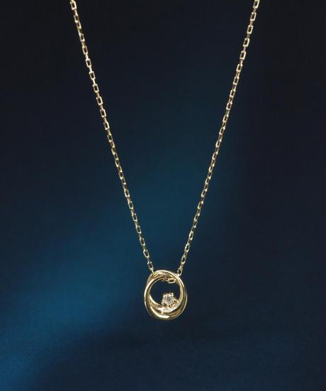 【anq.】K10・ダイヤモンドプチネックレス(ツインサークル)