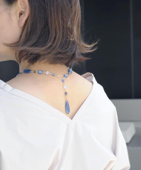 【anq.】カイヤナイト / サファイア / アイオライト / ブルーカルセドニー  ショート ネックレス  K14GF