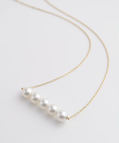 【anq.】K10・Pearl Line ネックレス 淡水パール