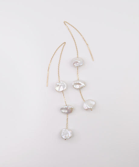 【anq.】K10・Pearls ロングアメリカンピアス 淡水パール
