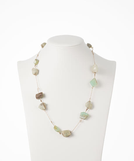 【buyer collection】K14 ペルビアンオパール/アクアマリン ネックレス