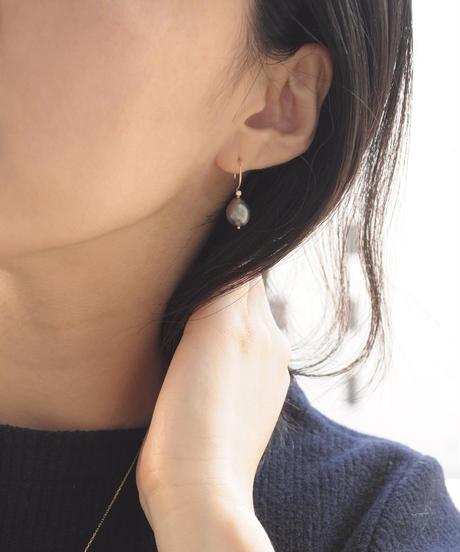 【anq.】K10・タヒチパール ダイヤモンド0.02ct フックピアス