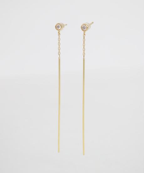 【anq.】K18・ダイヤ Stickロングピアス