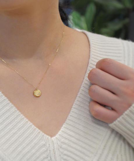 【anq.】K10・0.01ctダイヤ 月モチーフペンダント ネックレス