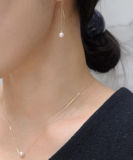 【anq.】K10 ・アコヤパールネックレス&ピアス セット