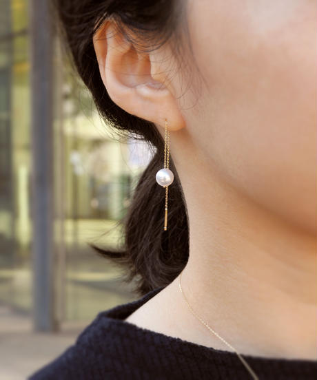 【anq.】K10・アコヤパール ロングチェーンピアス