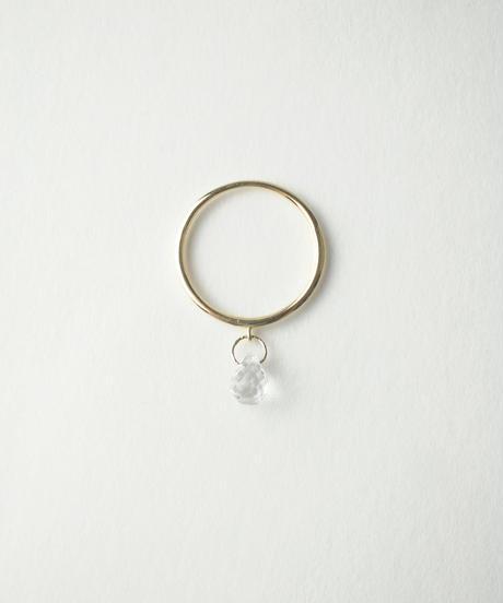 【anq.】K10・drop 天然石チャームリング