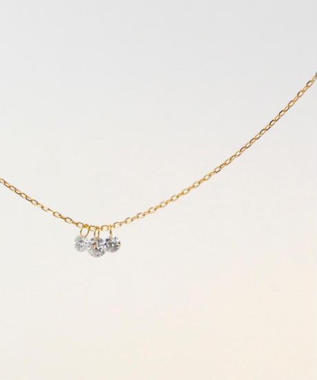 【anq.】3石レーザーホールダイヤモンドネックレス
