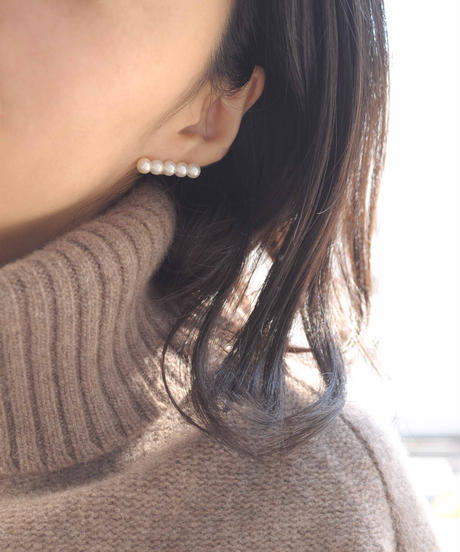 【anq.】K10・Pearl Line ピアス 淡水パール