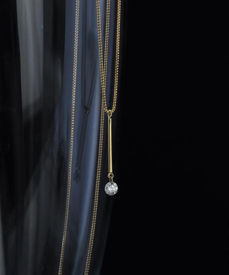 【anq.】K18・0.1ctレーザーホールダイヤモンド バーネックレス