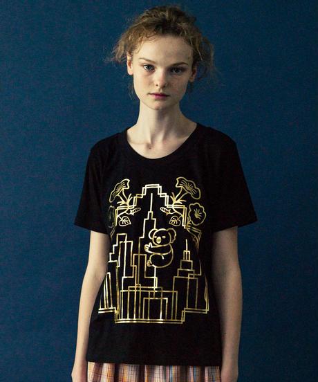アールデコビルプリントTシャツ(black)