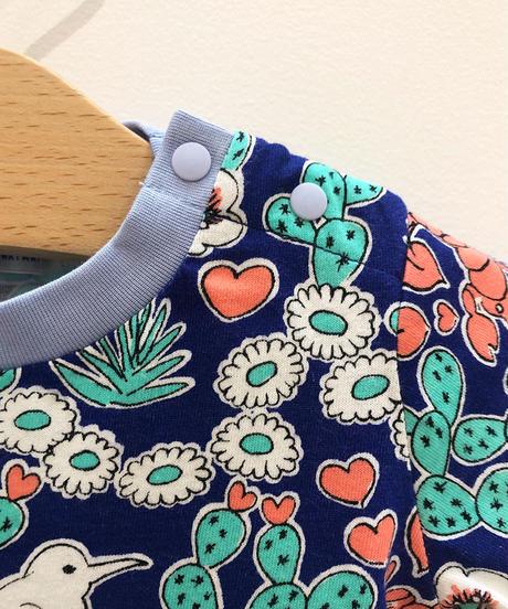 サボテンプリントベビーTシャツ (blue)