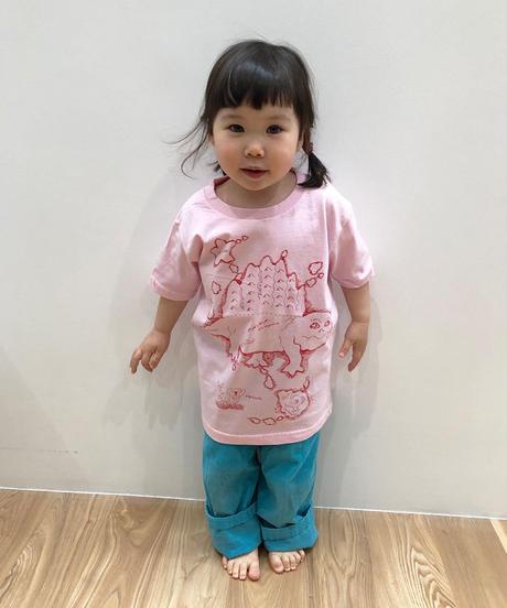 ディメトロドン大陸のキッズTシャツ (pink)
