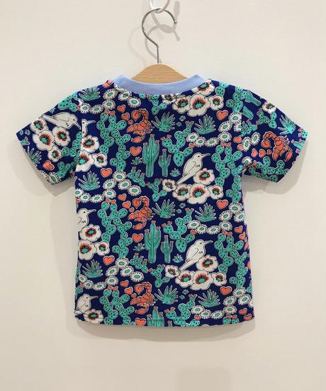 サボテンプリントキッズTシャツ (blue)
