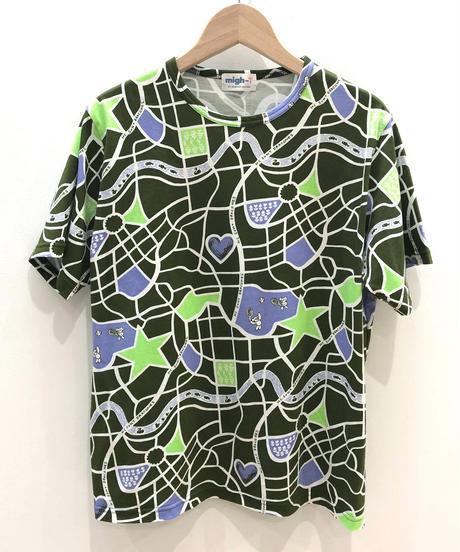 街路図プリントTシャツ (olive)