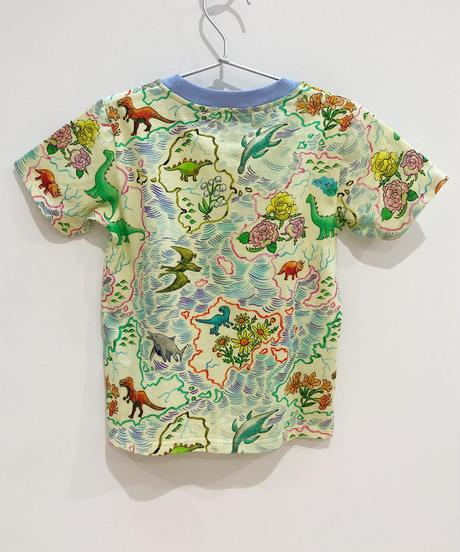 恐竜地図プリントキッズTシャツ