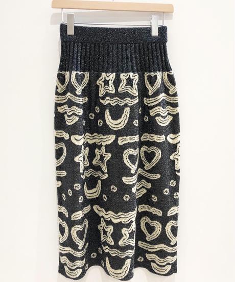 クリームフェイスニットスカート (charcoal)