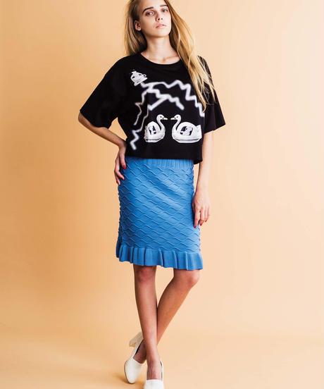 水面パターンのニットスカート (blue)