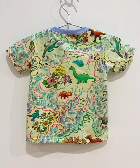 恐竜地図プリントベビーTシャツ
