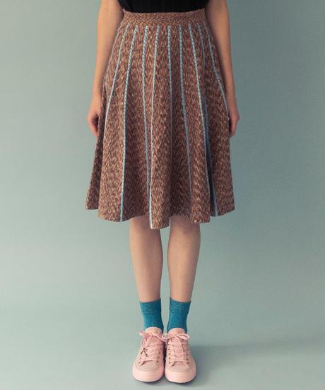 絣糸ニットフレアスカート (brown)