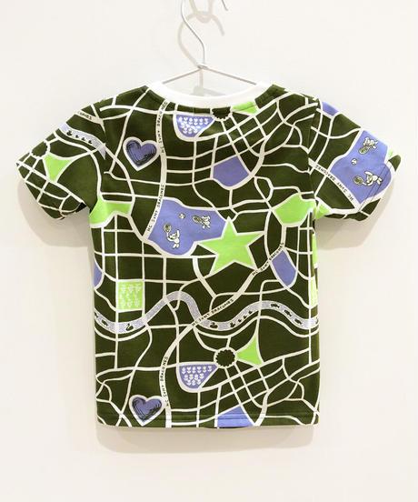 街路図キッズTシャツ (olive)