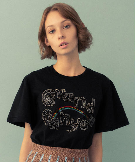 グランドキャニオンの生き物ロゴ刺繍Tシャツ (black)